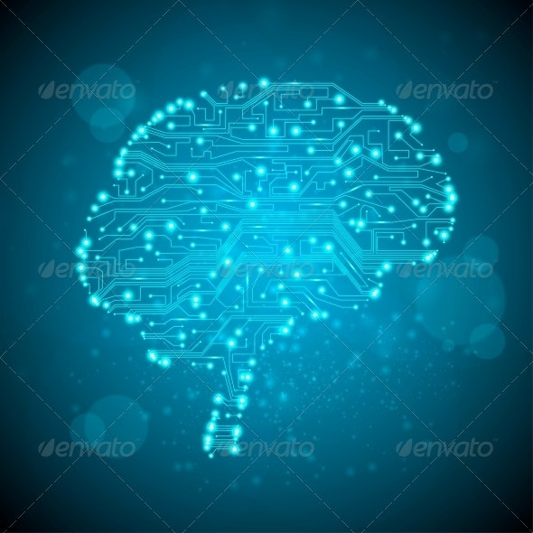Circuit Board Form of a Brain - Communications Technology