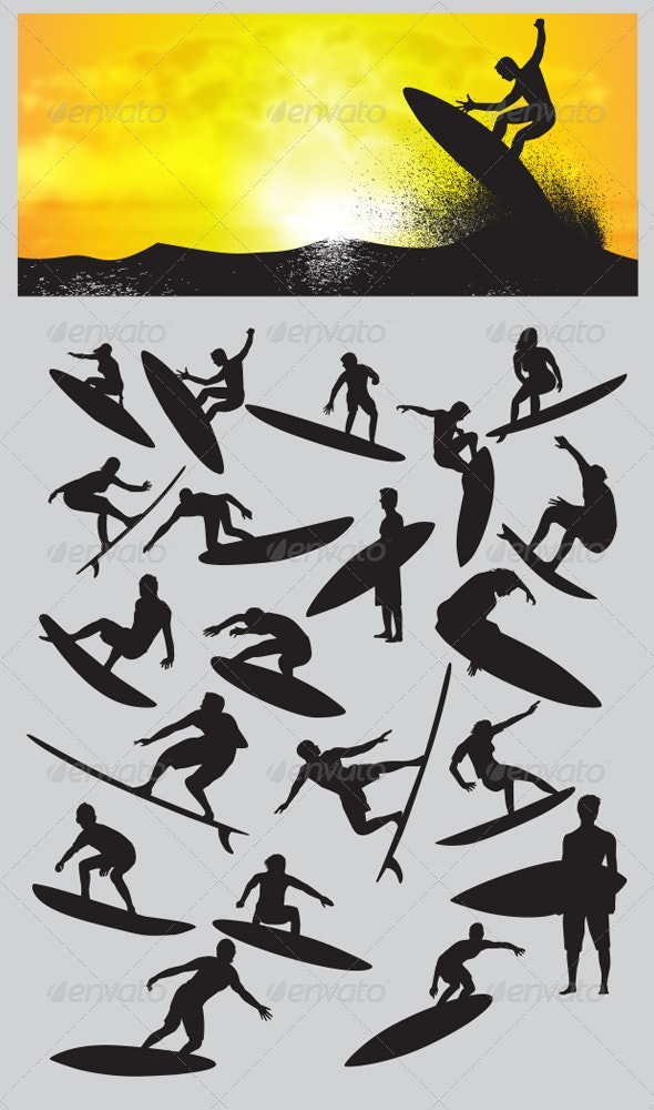 Surfing Silhouettes - Sports/Activity Conceptual