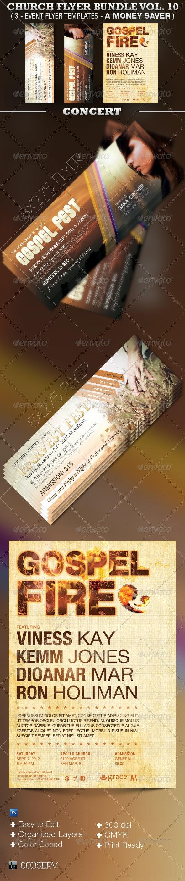 Concert Church Flyer Template Bundle Vol 10 - Church Flyers