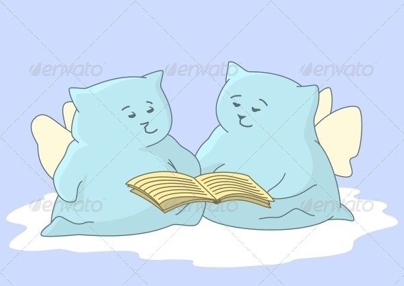 Cartoon Animals Angels Read Book - Animals Characters
