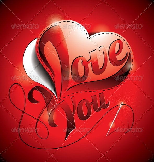 Valentines Day Illustration with I Love You Title. - Valentines Seasons/Holidays