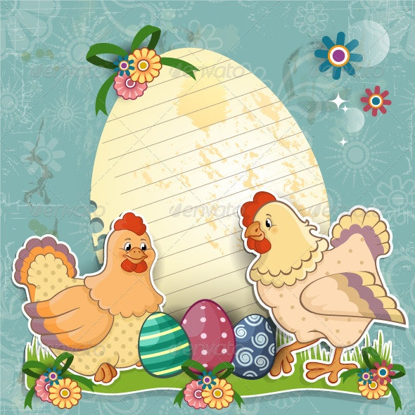 Hens with Eggs and Flowers - Animals Characters
