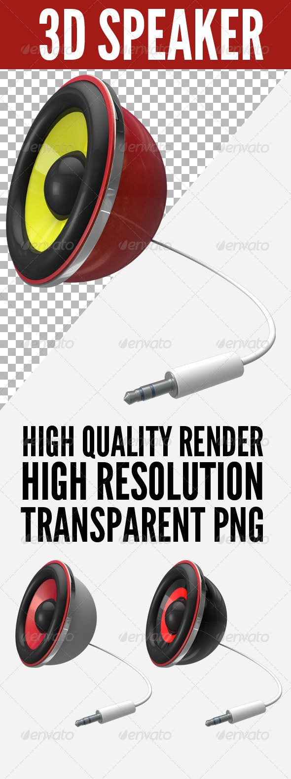 3D Speaker With Mini Jack - Objects 3D Renders