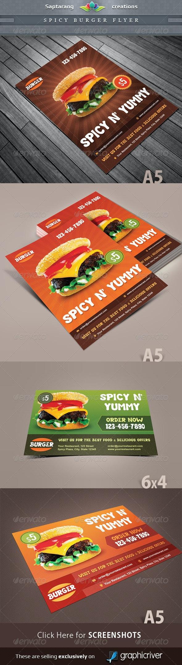 Spicy Burger Flyer - Restaurant Flyers