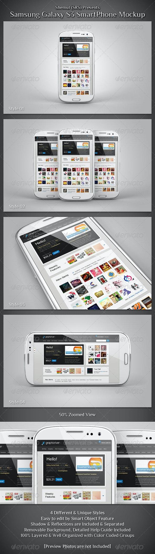 Galaxy S3 Smartphone Mockup - Mobile Displays