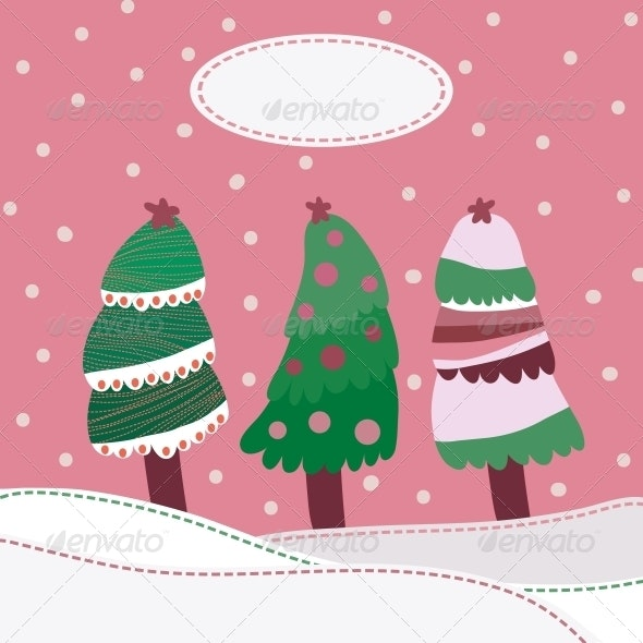 Snow Landscape Background with Christmas Trees - Christmas Seasons/Holidays