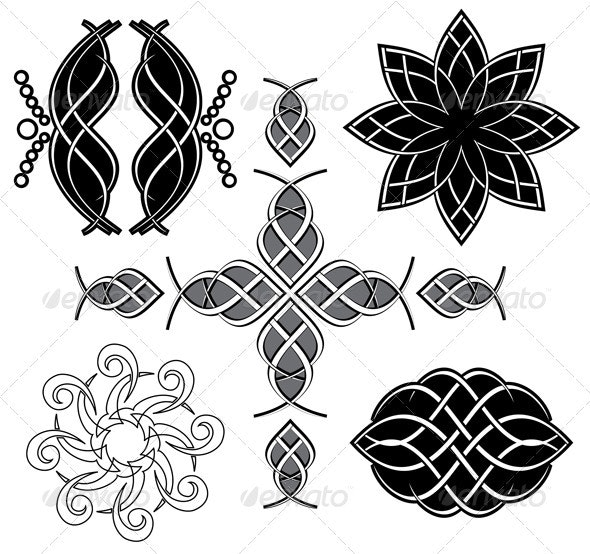 Set of vector black tracery for design