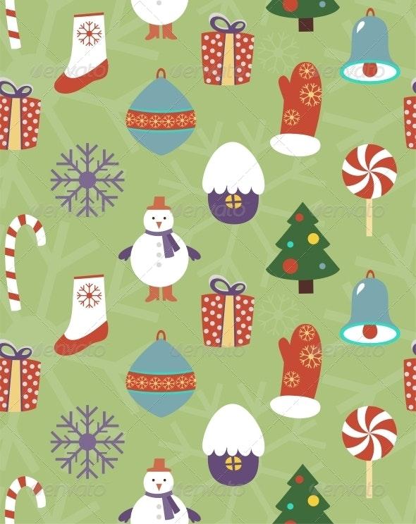 Colorful Seamless Christmas Pattern - Christmas Seasons/Holidays