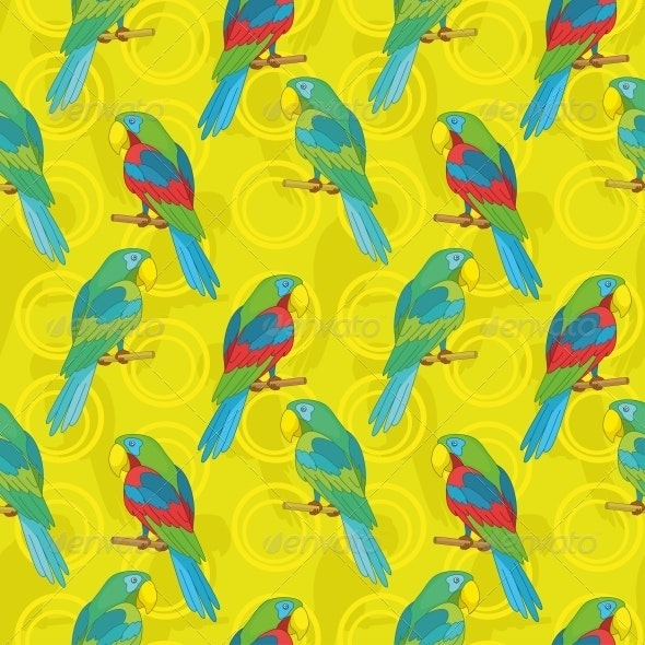 Seamless Background, Parrots - Animals Characters