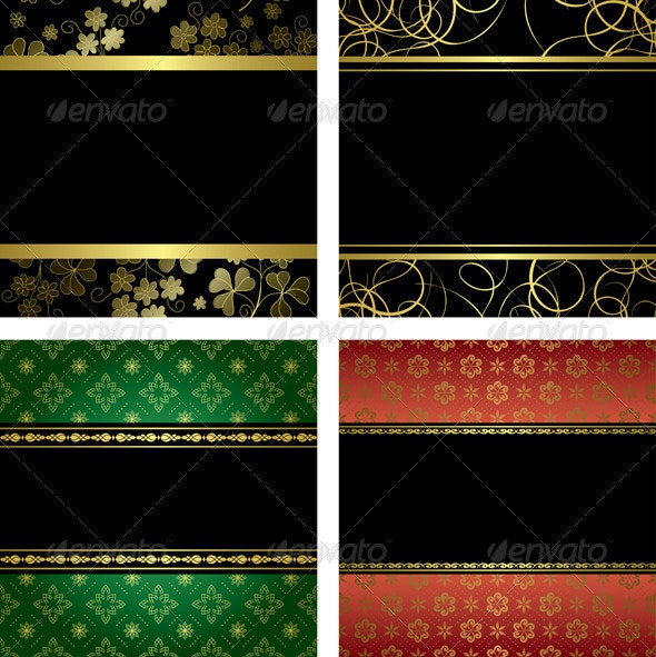 Set - vector black card with golden frames - Miscellaneous Seasons/Holidays