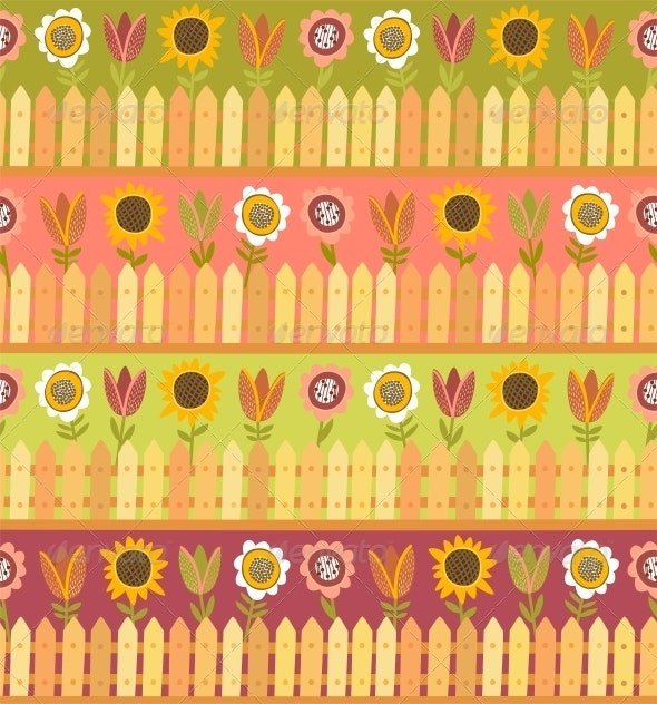 Country Seamless Pattern with Fence and Flowers - Patterns Decorative
