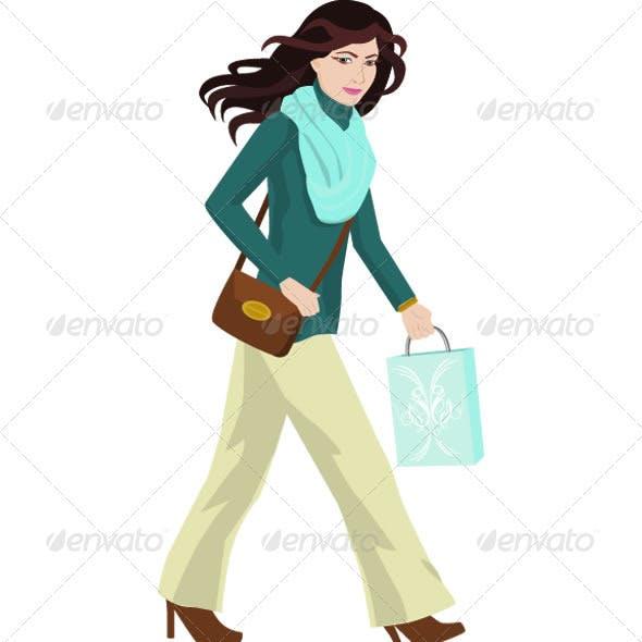 Woman Shopping Illustration