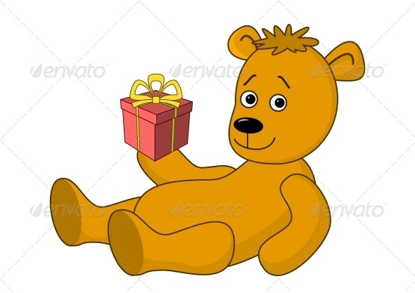 Teddy Bear with a Gift Box - Animals Characters