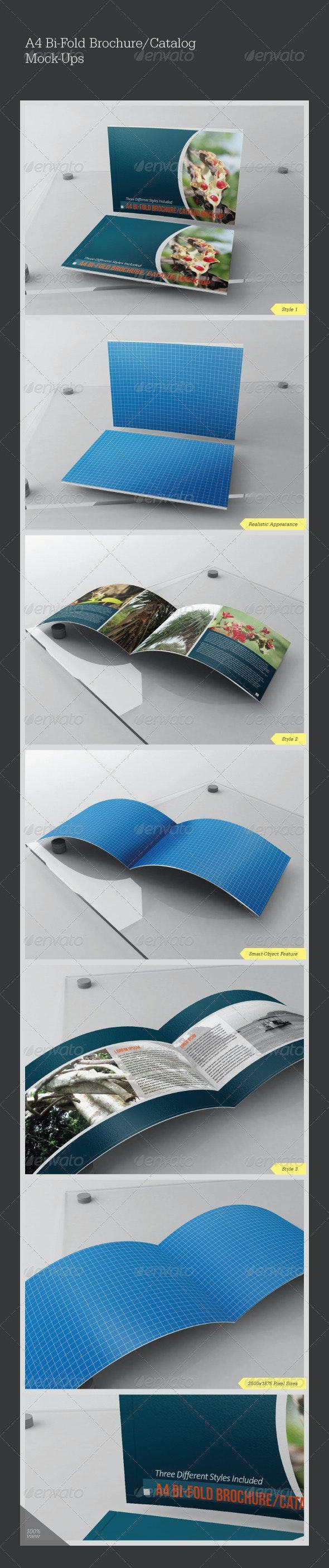 A4 Bi-Fold Catalog/Brochure Mock-Ups - Brochures Print