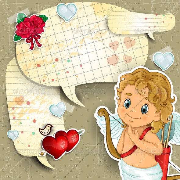 Cupid with Cartoon Paper - Valentines Seasons/Holidays