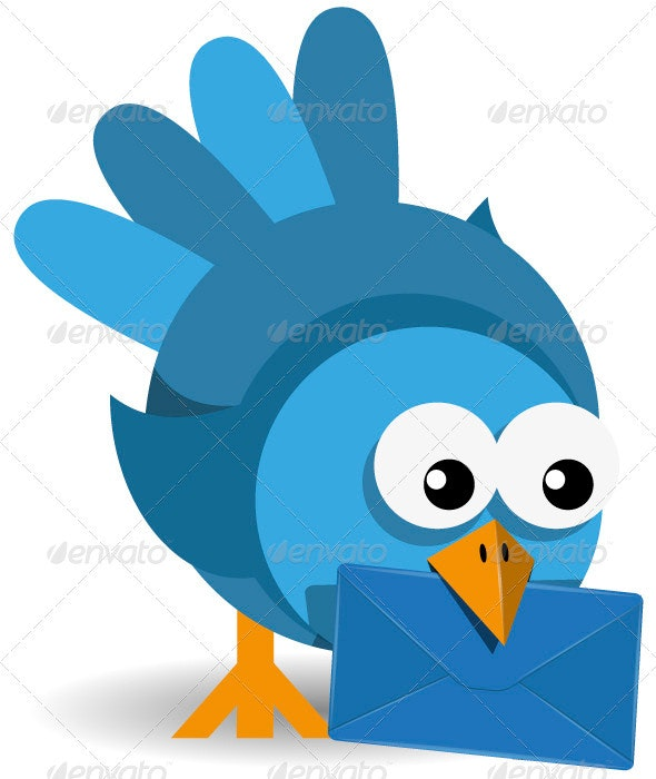 Blue Bird with a Blue Envelope - Animals Characters
