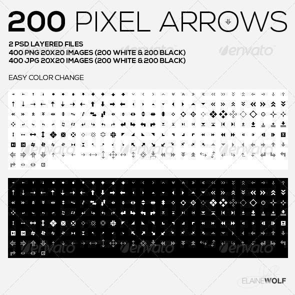 200 Pixel Arrows   Black & White