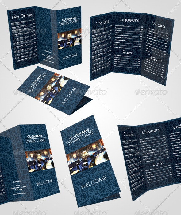 Drink Card Menu - Food Menus Print Templates