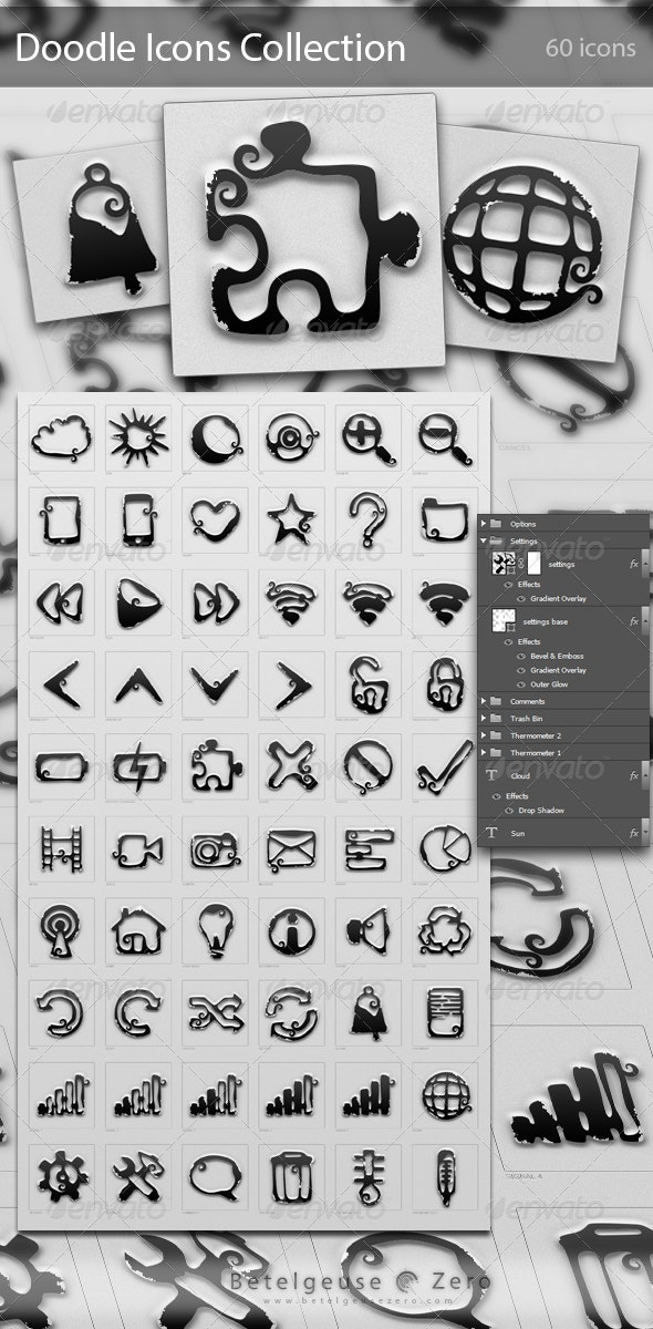 60 Doodle Icons Collection v1.0 - Decorative Symbols Decorative