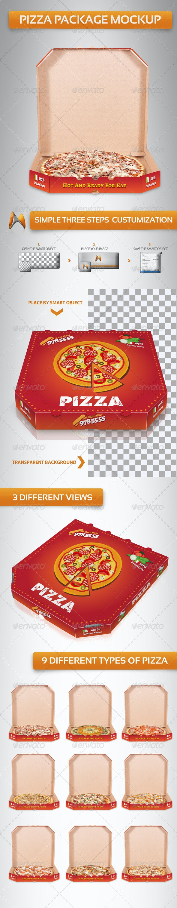 Pizza Package Mockup - Food and Drink Packaging