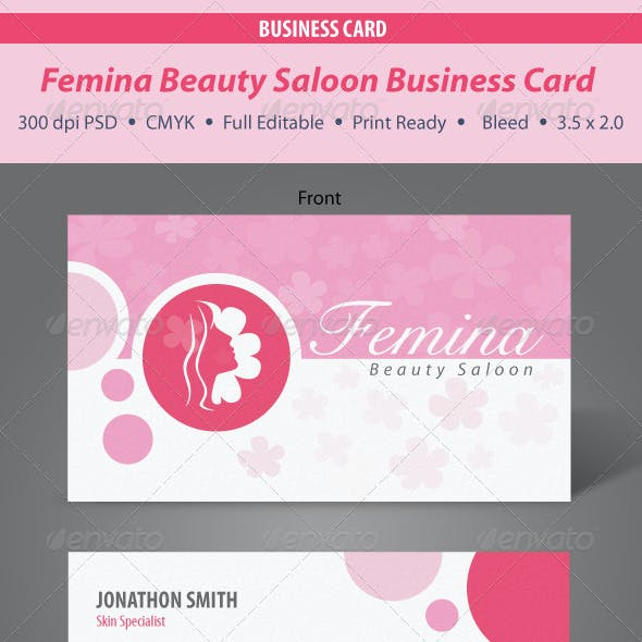 Femina Beauty Saloon Business Card