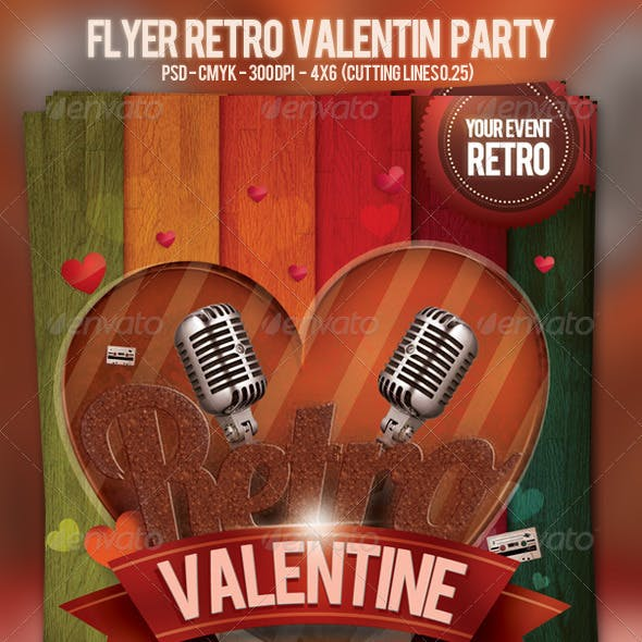 Flyer Retro Valentin Party