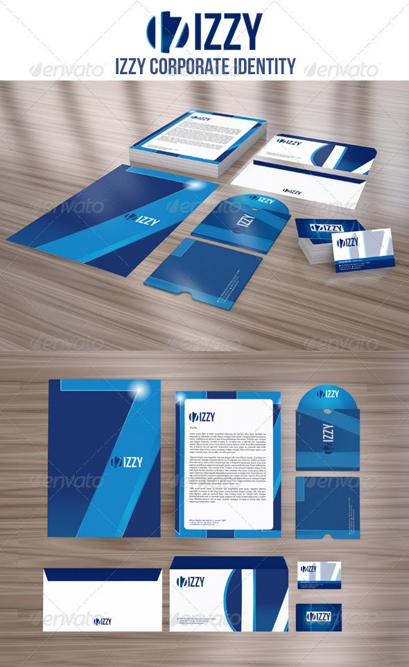 IZZY Corporate Identity Package - Stationery Print Templates