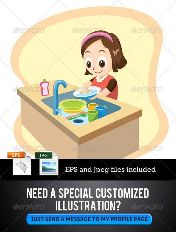 Daughter Washing Dishes - Characters Vectors