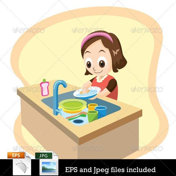 Daughter Washing Dishes