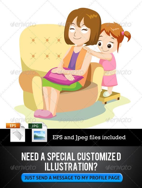 Daughter Giving Massage - Characters Vectors