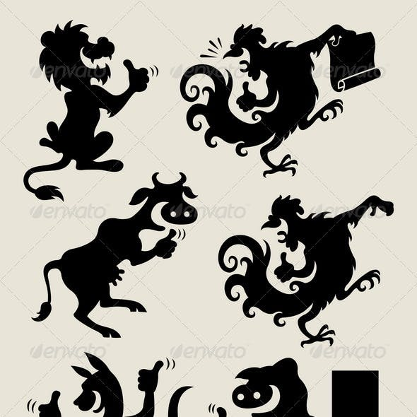 Thumbs-up animals silhouette set 2