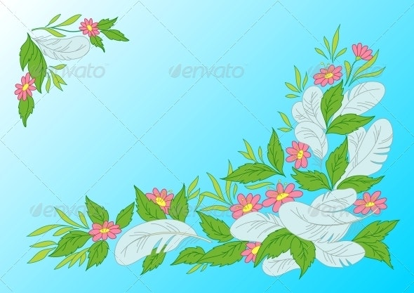 Leaves, Flowers and Feathers on Sky - Patterns Decorative