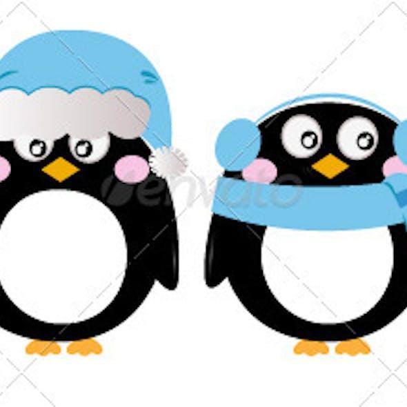 Cute penguin set isolated on white - blue