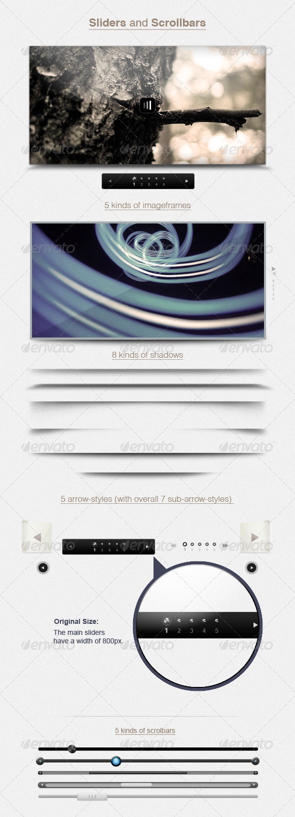 Sliders and 5 Scrollbars - Sliders & Features Web Elements