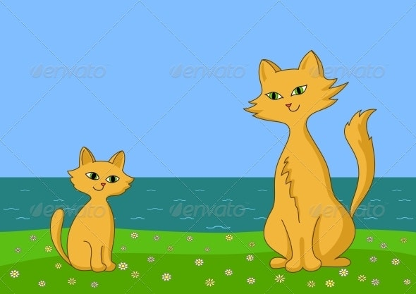 Cat and Kitten on Sea Coast - Animals Characters