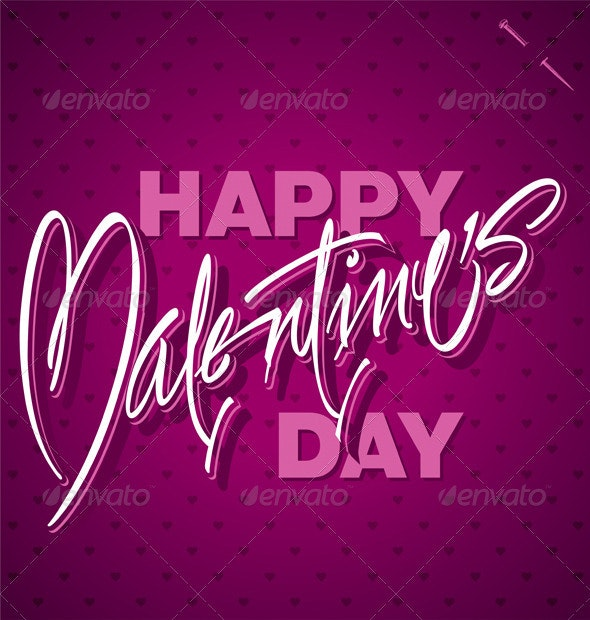 Happy Valentine's Day Hand Lettering Vector - Valentines Seasons/Holidays