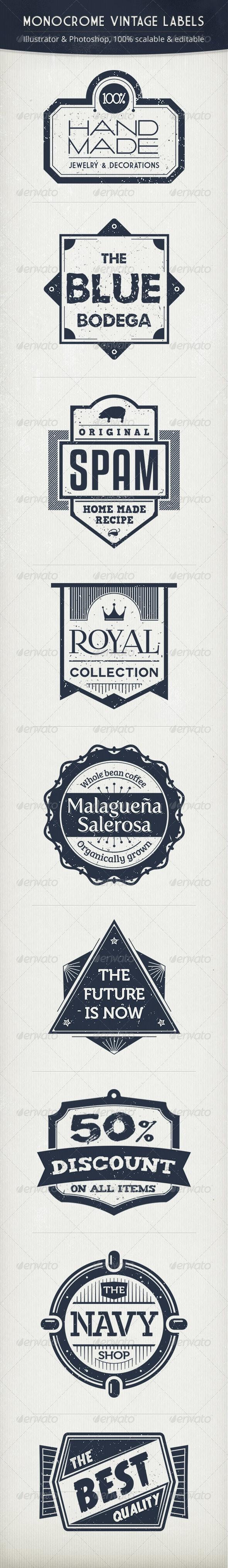 Monochrome Vintage Labels - Badges & Stickers Web Elements