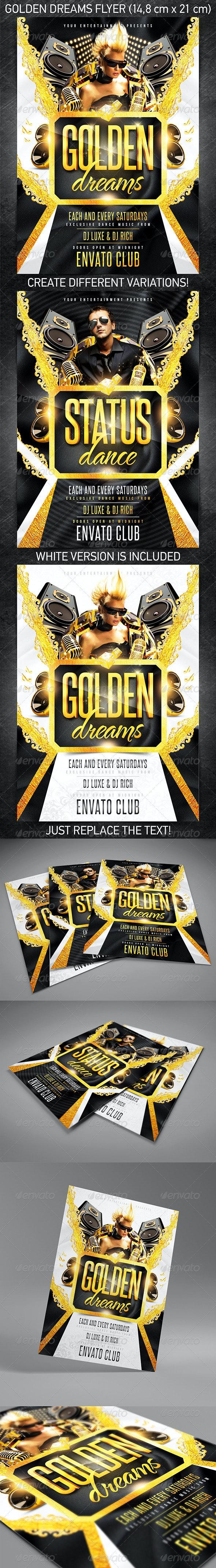 Golden Dreams Party Flyer - Events Flyers