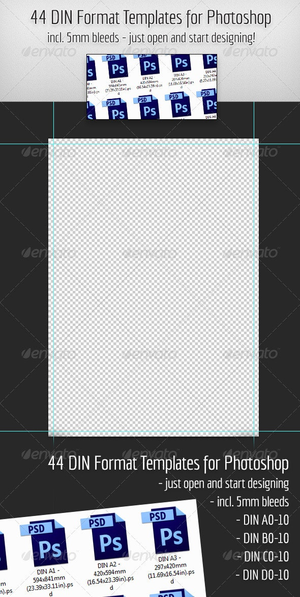 44 DIN Format Templates for Photoshop - Miscellaneous Print Templates