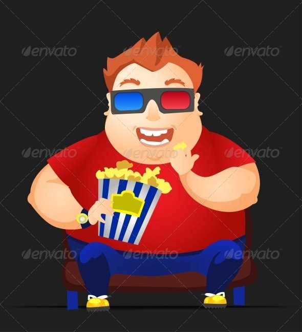 Cheerful Chubby Man - People Characters