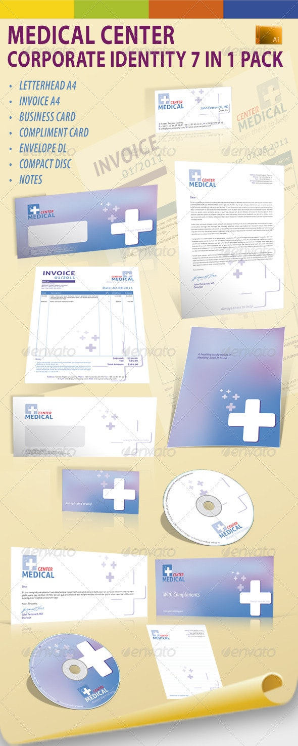 Medical Center Corporate Identity 7 in 1 Pack - Stationery Print Templates