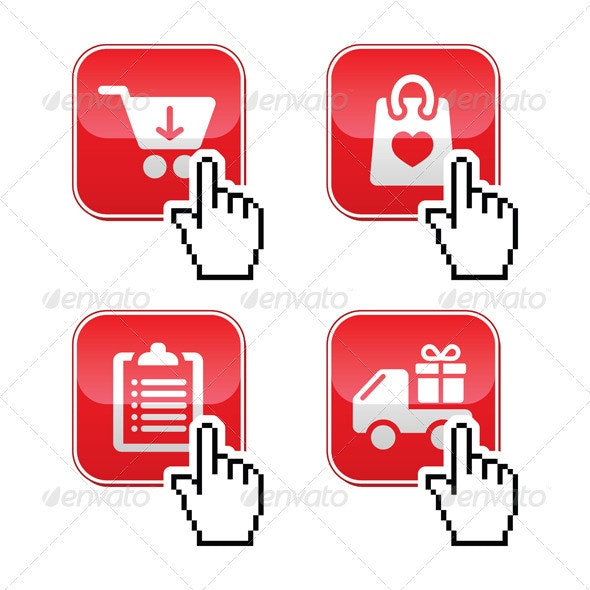 Shopping Buttons Set with cursor Hand Icon - Web Technology