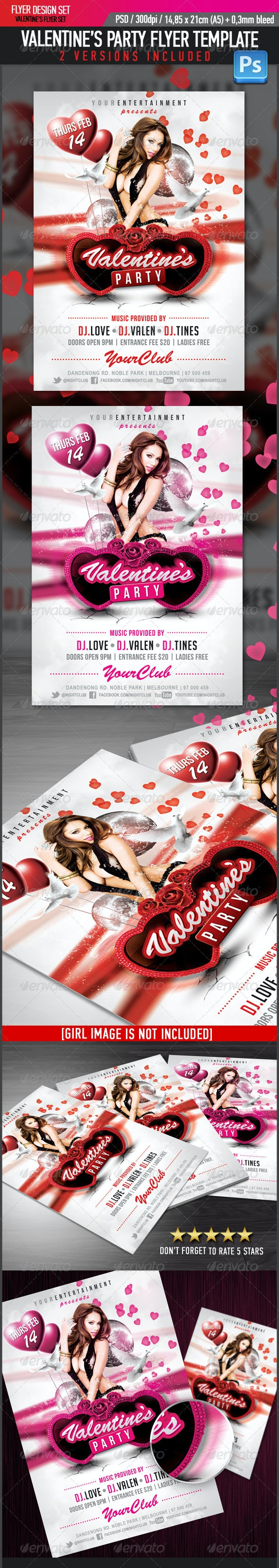Valentine's Glamour Party Flyer Template - Clubs & Parties Events