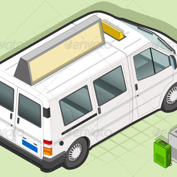 Isometric White Taxi Van with Some Bags