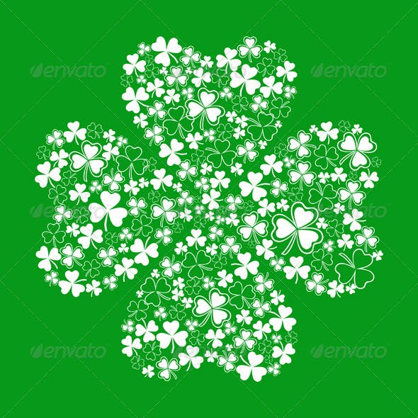 Vector Green Greeting Card with Clover Shamrock