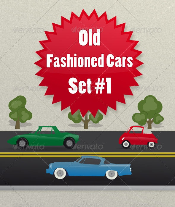 Old-Fashioned-Cars-Set1 - Man-made Objects Objects