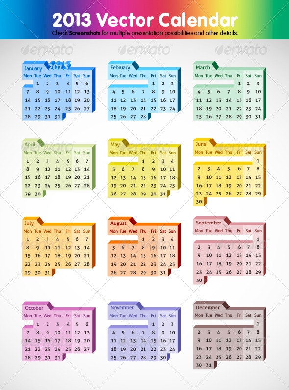 2013 Editable Calendar - Seasons/Holidays Conceptual