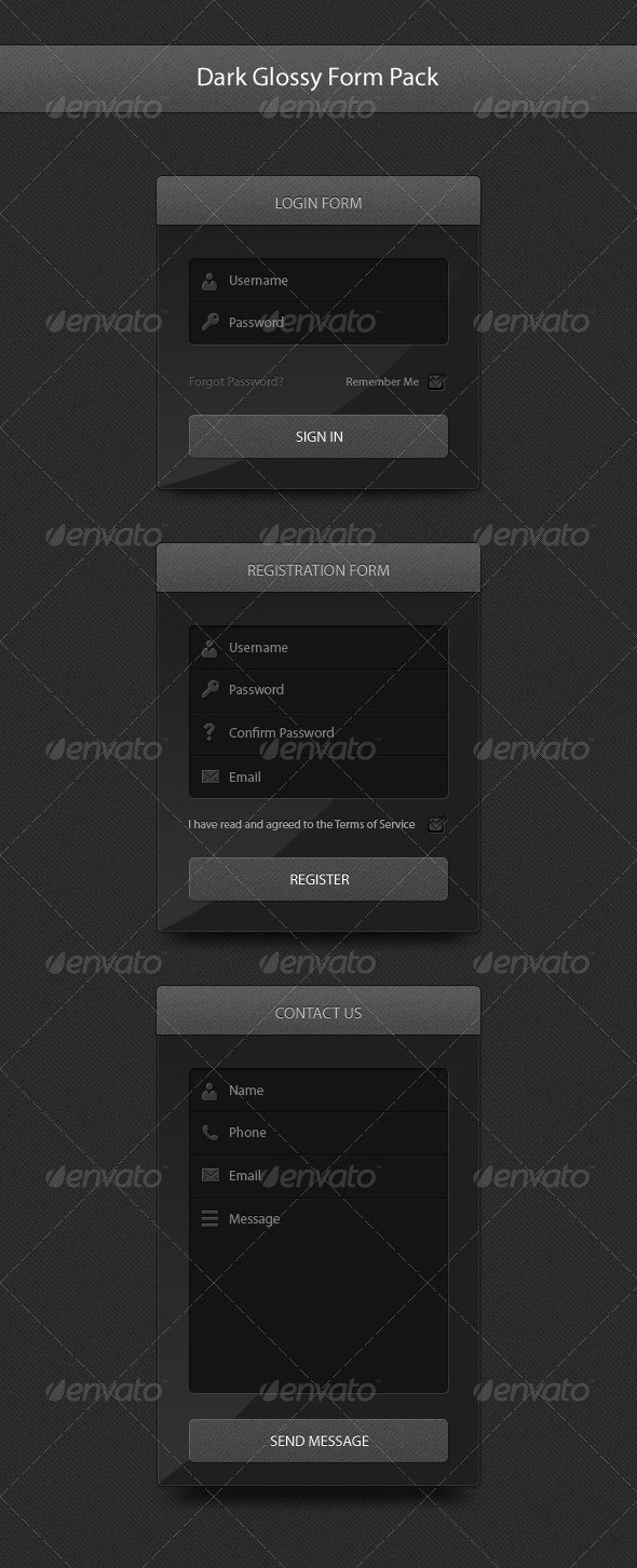 Dark Glossy Form Pack - Forms Web Elements