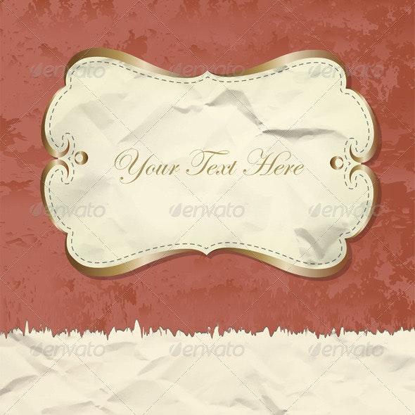 Golden Vintage Banner On Grunge Paper - Backgrounds Decorative