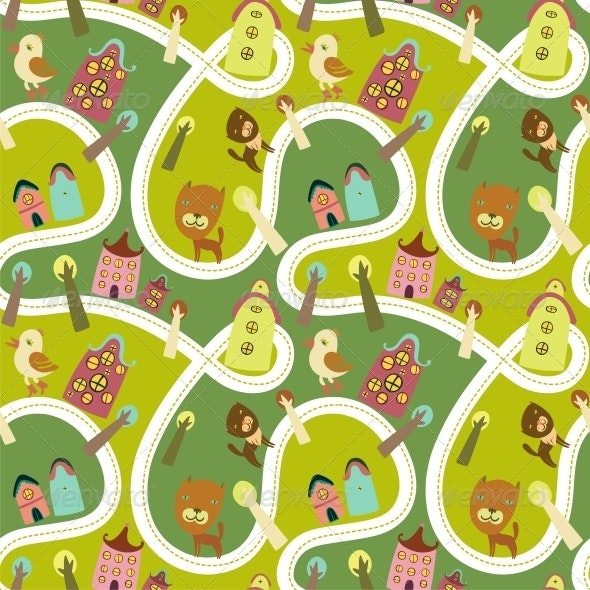 Road Seamless Pattern with Houses and Animals - Backgrounds Decorative